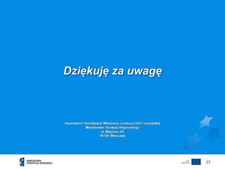 Dziękuję za uwagę Departament Koordynacji Wdrażania Funduszy Unii Europejskiej. Ministerstwo Rozwoju Regionalnego.