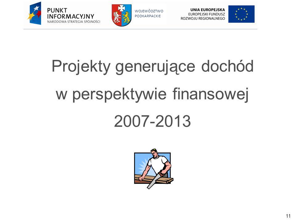 Projekty generujące dochód w perspektywie finansowej 2007-2013