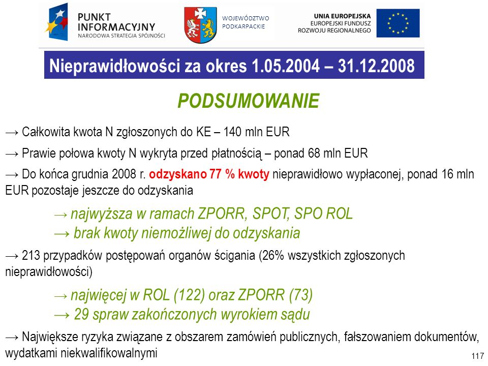 PODSUMOWANIE Nieprawidłowości za okres 1.05.2004 – 31.12.2008