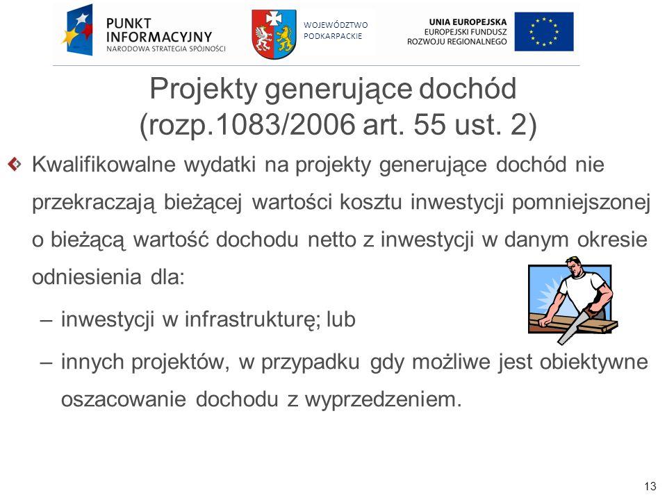 Projekty generujące dochód (rozp.1083/2006 art. 55 ust. 2)
