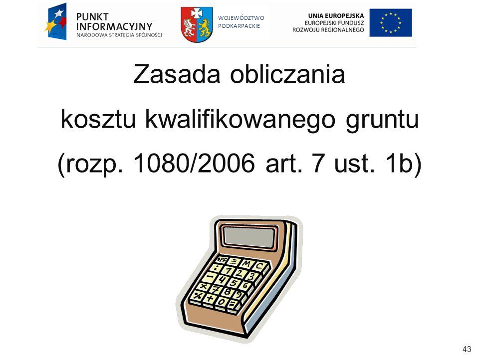 Zasada obliczania kosztu kwalifikowanego gruntu (rozp. 1080/2006 art