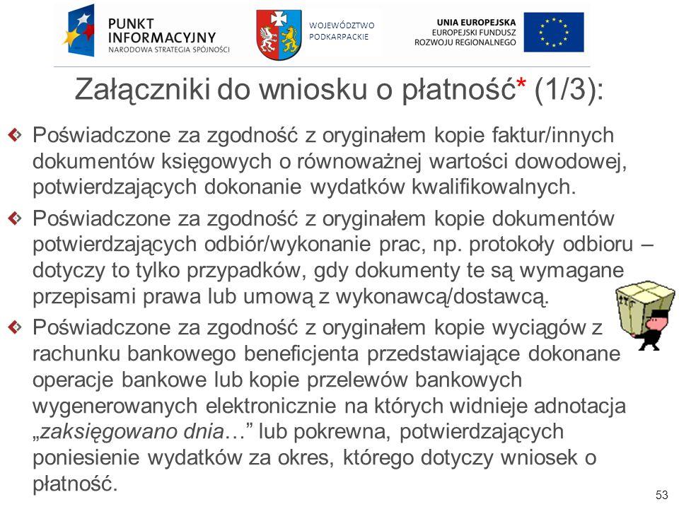 Załączniki do wniosku o płatność* (1/3):