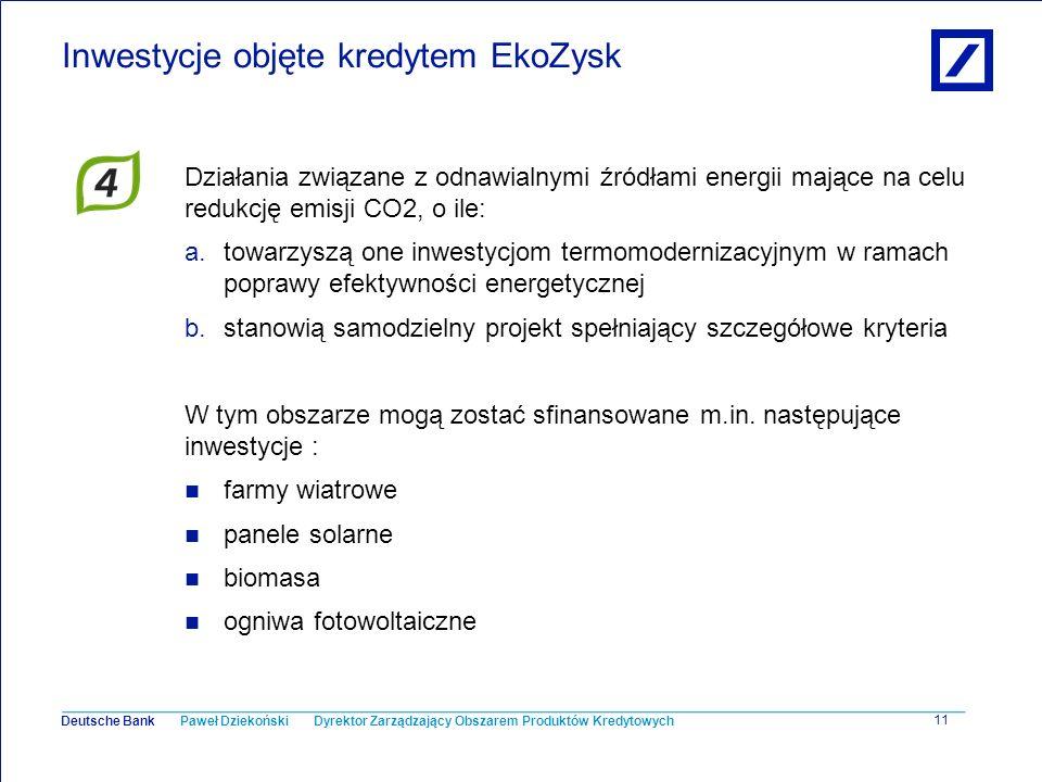 Inwestycje objęte kredytem EkoZysk