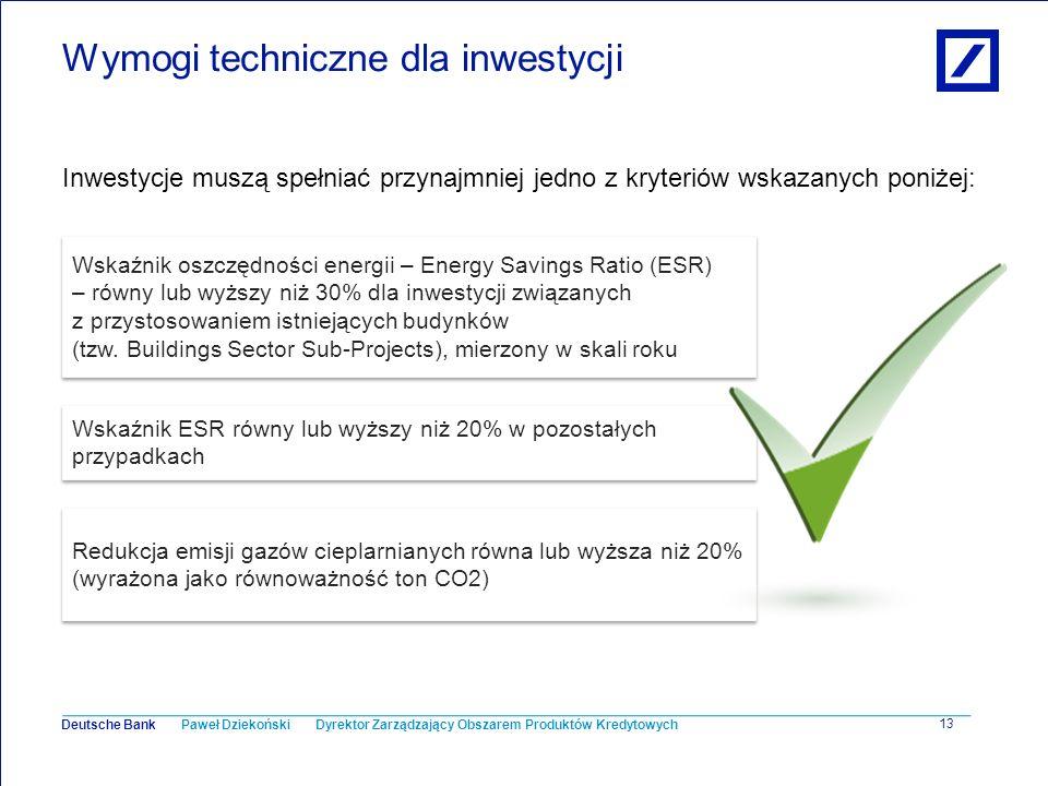 Wymogi techniczne dla inwestycji