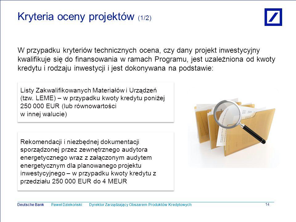 Kryteria oceny projektów (1/2)