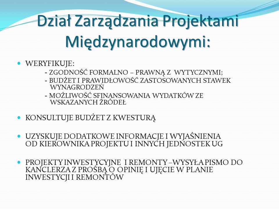 Dział Zarządzania Projektami Międzynarodowymi: