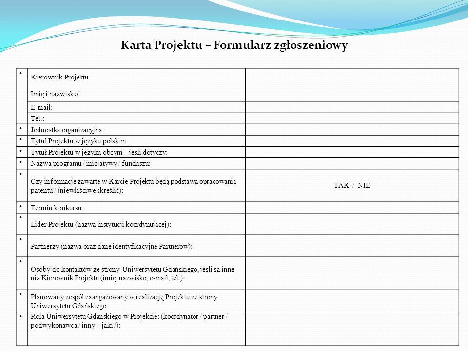 Karta Projektu – Formularz zgłoszeniowy