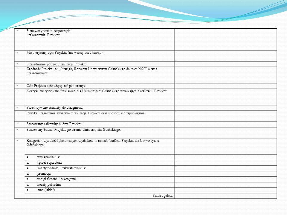 Planowany termin rozpoczęcia i zakończenia Projektu: Merytoryczny opis Projektu (nie więcej niż 2 strony):