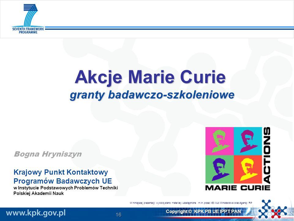 Akcje Marie Curie granty badawczo-szkoleniowe