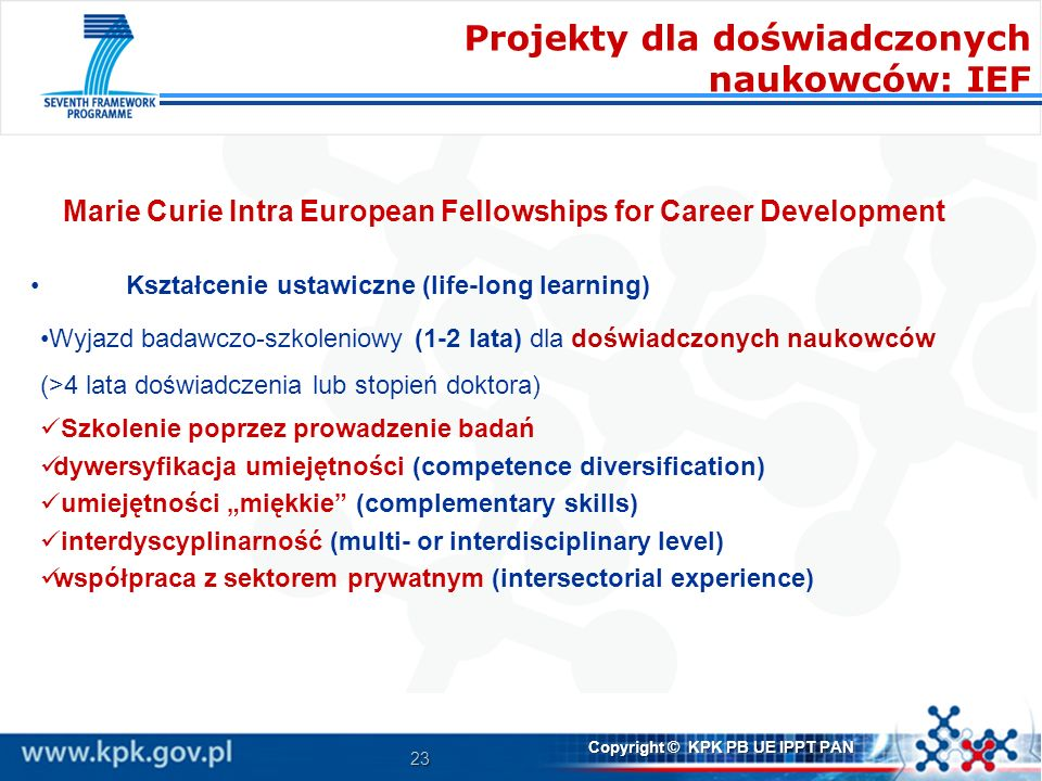Marie Curie Intra European Fellowships for Career Development
