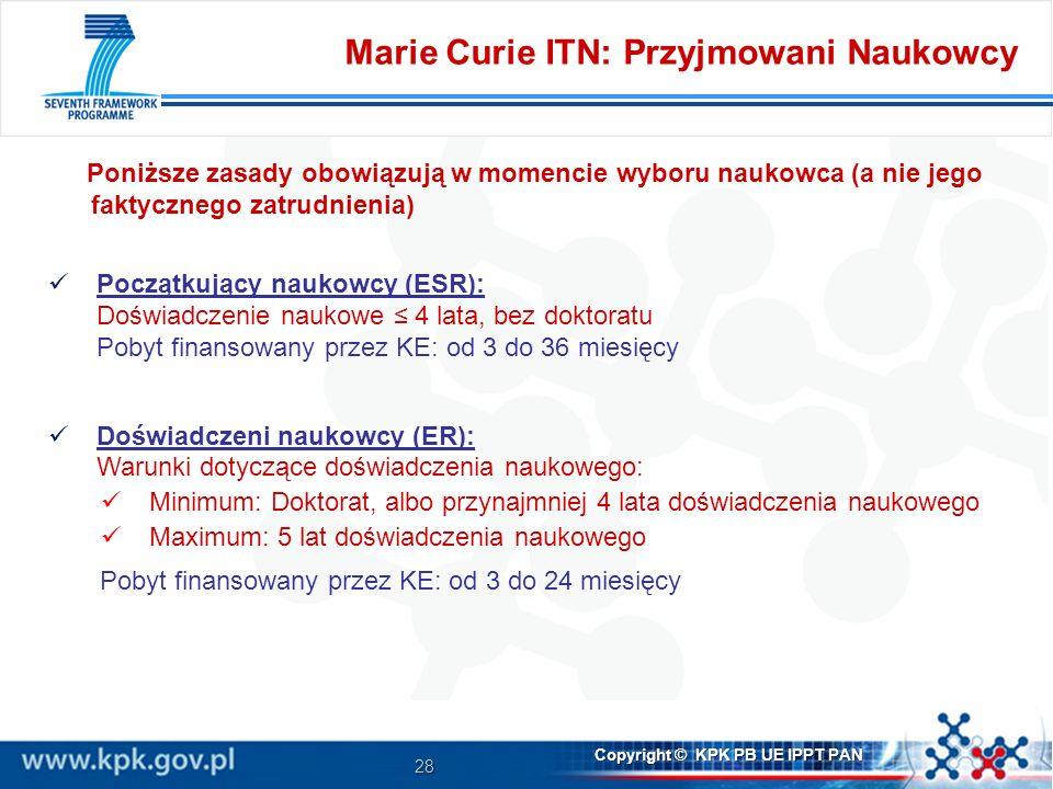 Marie Curie ITN: Przyjmowani Naukowcy
