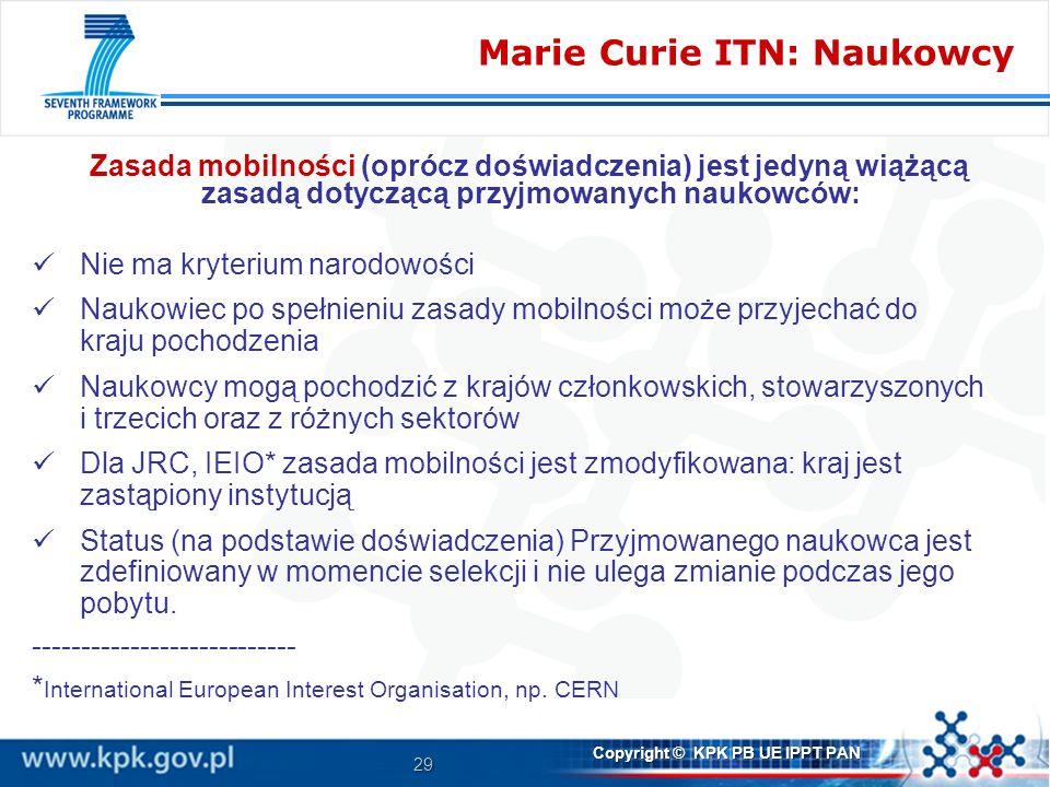 Marie Curie ITN: Naukowcy