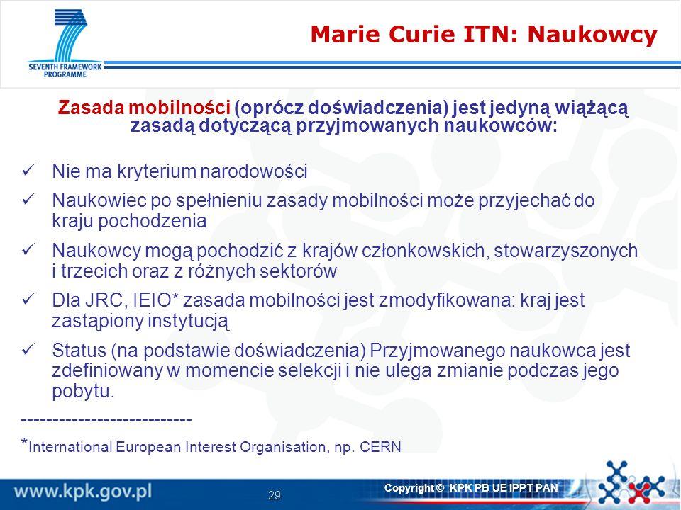 Marie Curie ITN: Naukowcy