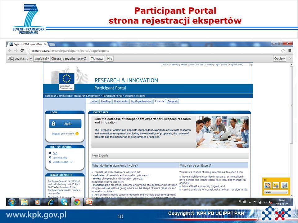 Participant Portal strona rejestracji ekspertów