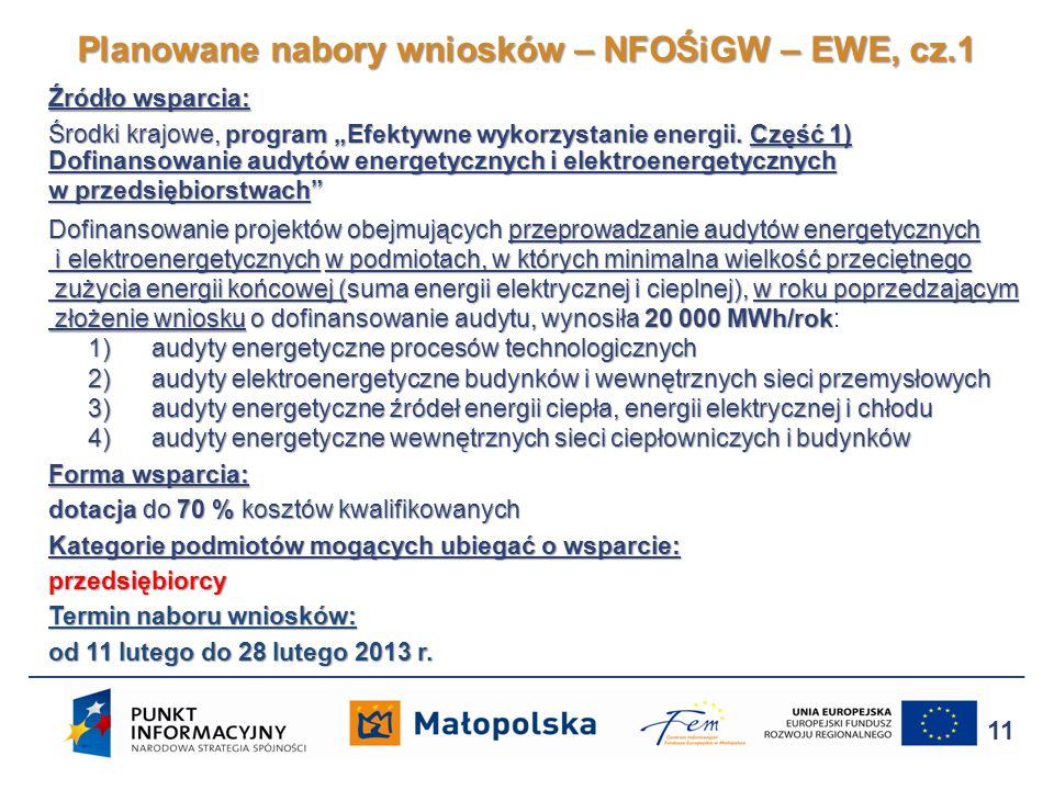 Planowane nabory wniosków – NFOŚiGW – EWE, cz.1