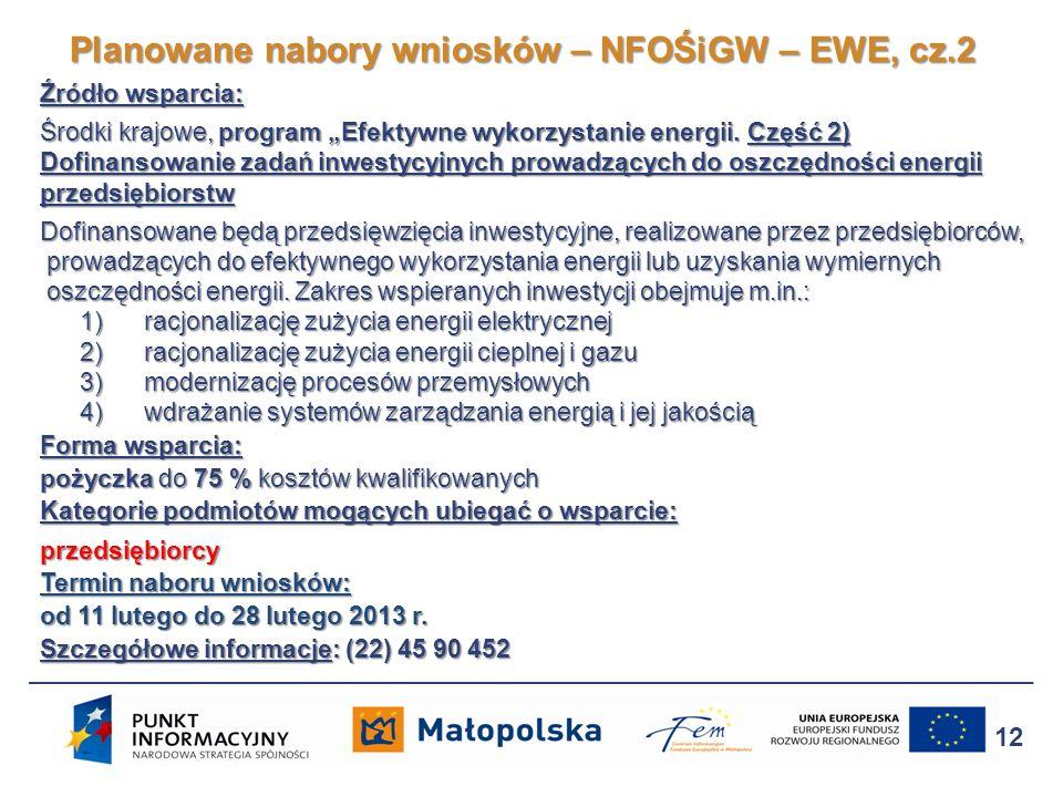Planowane nabory wniosków – NFOŚiGW – EWE, cz.2