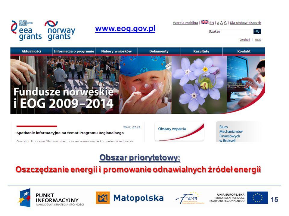 www.eog.gov.pl Obszar priorytetowy: Oszczędzanie energii i promowanie odnawialnych źródeł energii