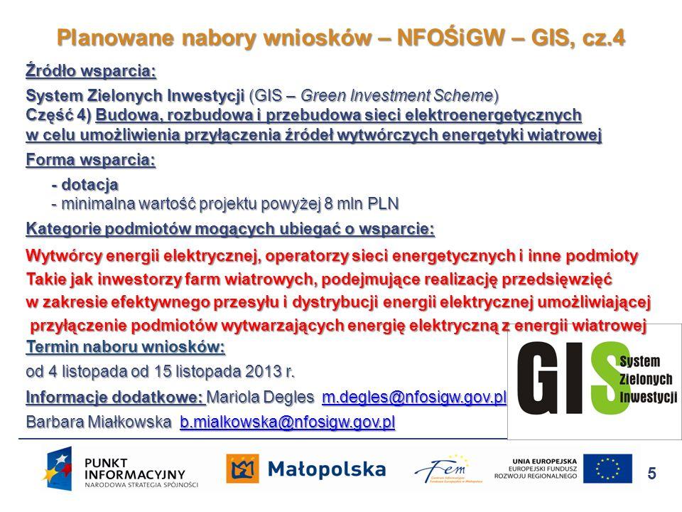 Planowane nabory wniosków – NFOŚiGW – GIS, cz.4
