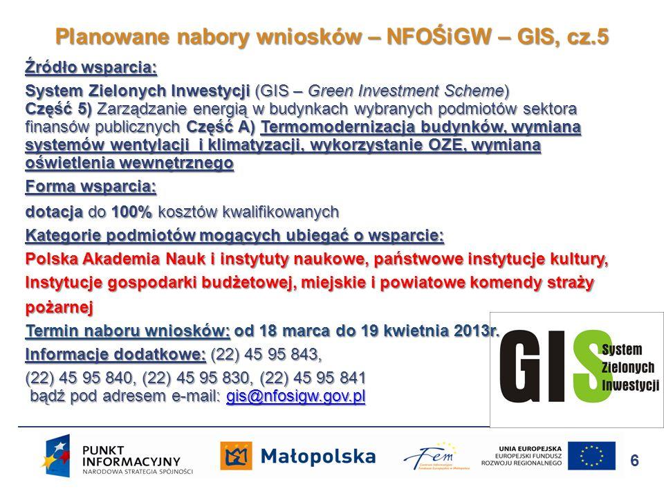Planowane nabory wniosków – NFOŚiGW – GIS, cz.5