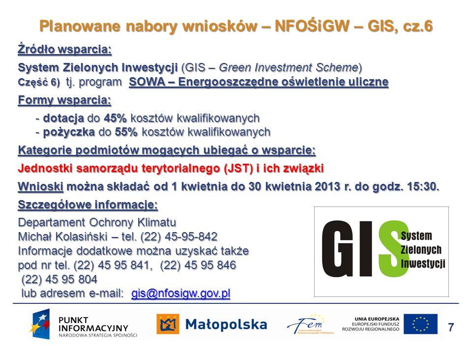 Planowane nabory wniosków – NFOŚiGW – GIS, cz.6