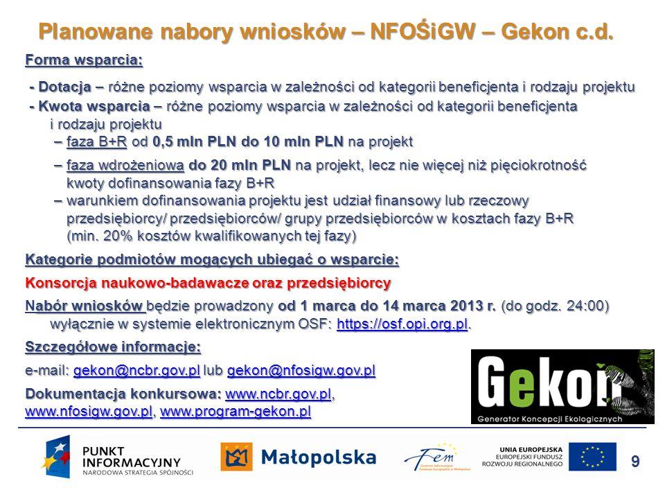 Planowane nabory wniosków – NFOŚiGW – Gekon c.d.