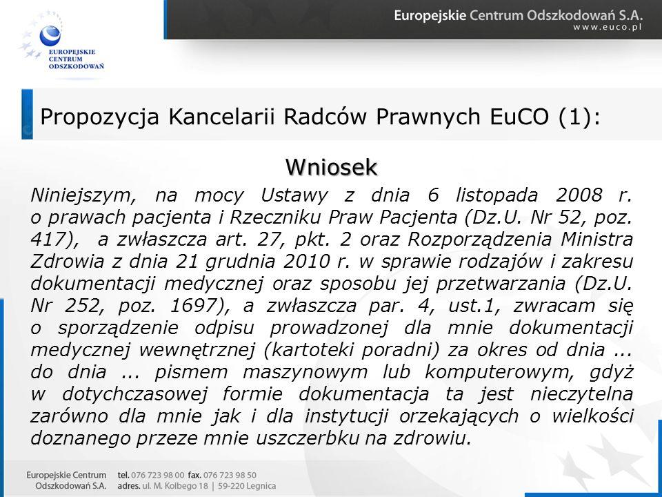 Propozycja Kancelarii Radców Prawnych EuCO (1):