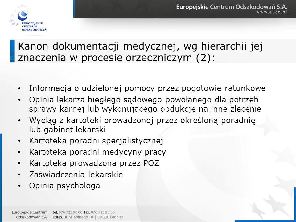 Kanon dokumentacji medycznej, wg hierarchii jej znaczenia w procesie orzeczniczym (2):