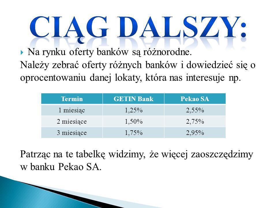 Ciąg dalszy: Na rynku oferty banków są różnorodne.
