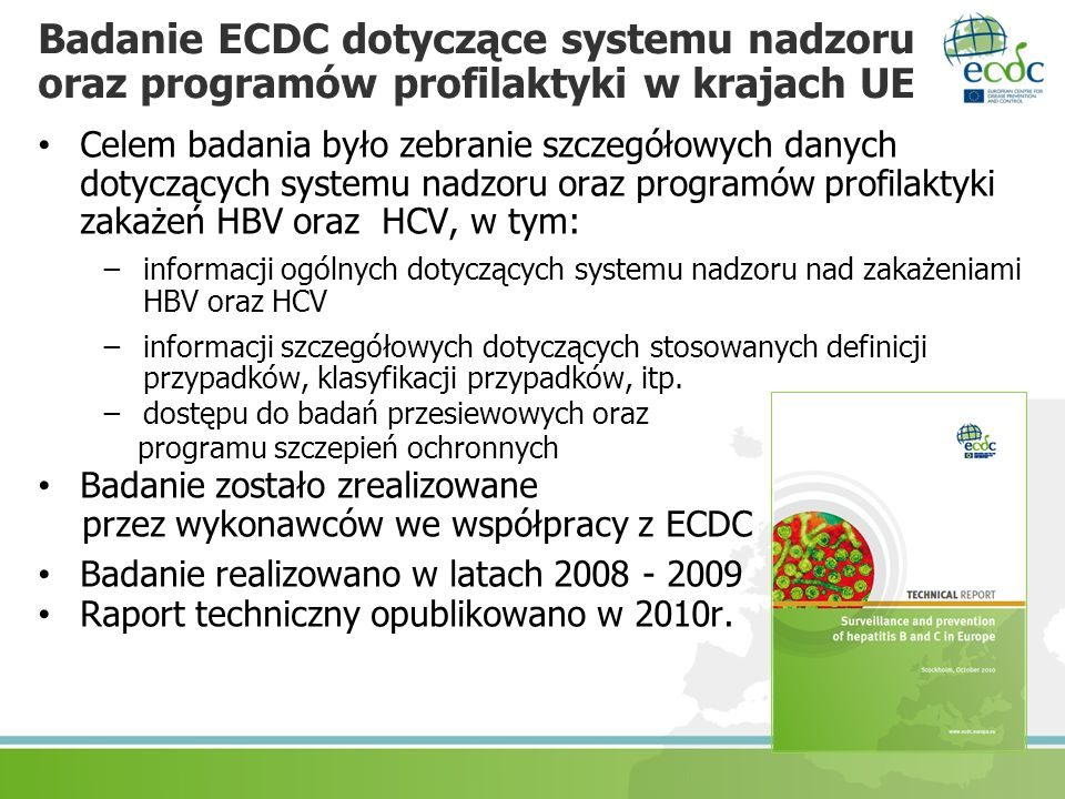 Badanie ECDC dotyczące systemu nadzoru oraz programów profilaktyki w krajach UE