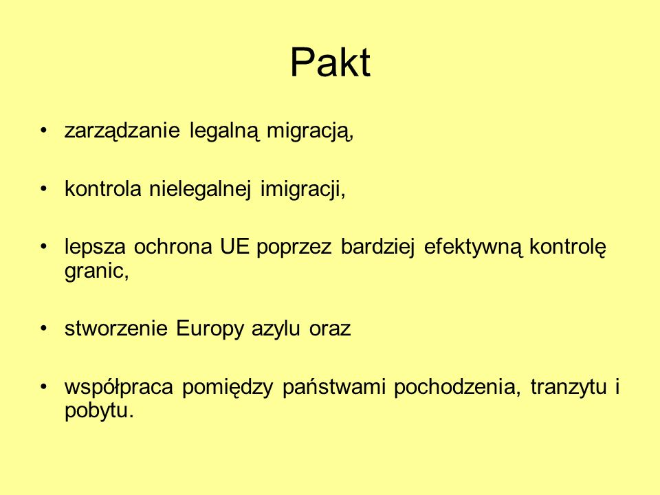 Pakt zarządzanie legalną migracją, kontrola nielegalnej imigracji,