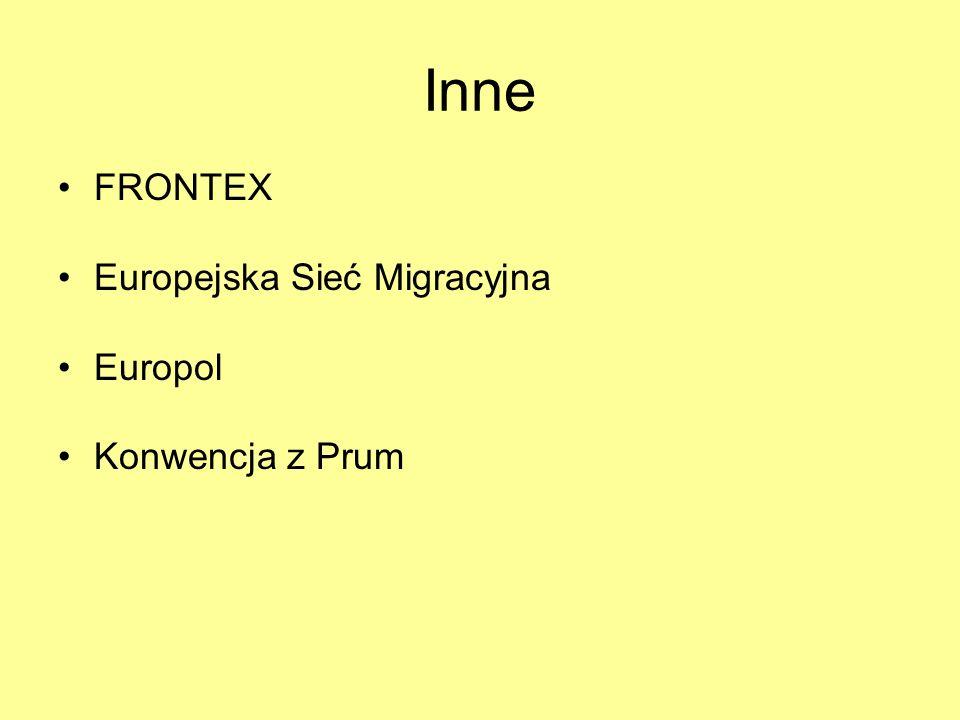 Inne FRONTEX Europejska Sieć Migracyjna Europol Konwencja z Prum