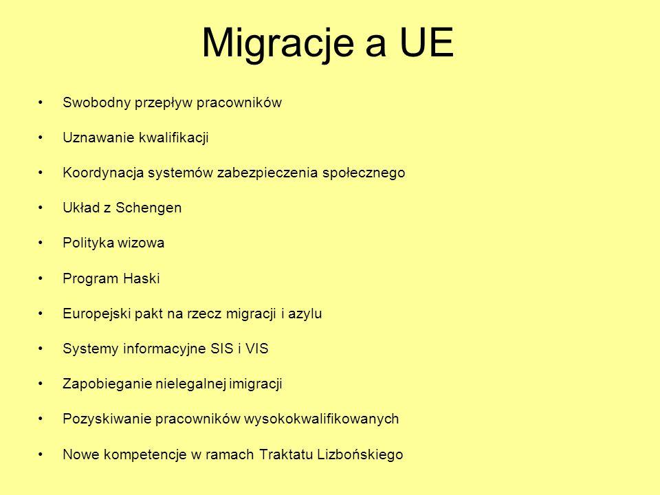 Migracje a UE Swobodny przepływ pracowników Uznawanie kwalifikacji