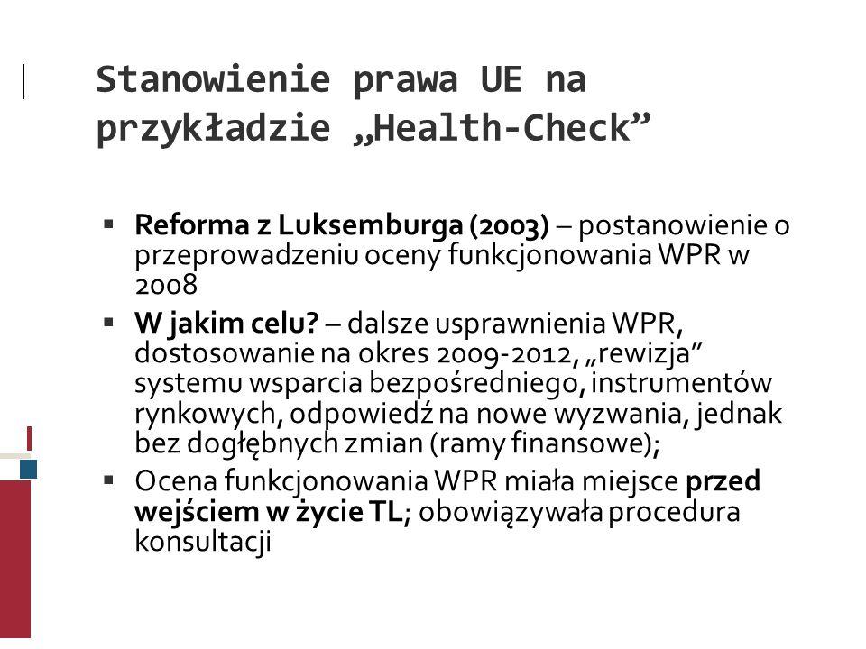 """Stanowienie prawa UE na przykładzie """"Health-Check"""