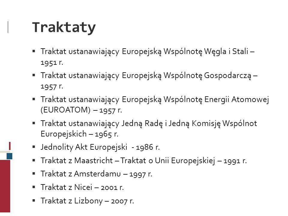 Traktaty Traktat ustanawiający Europejską Wspólnotę Węgla i Stali – 1951 r. Traktat ustanawiający Europejską Wspólnotę Gospodarczą – 1957 r.