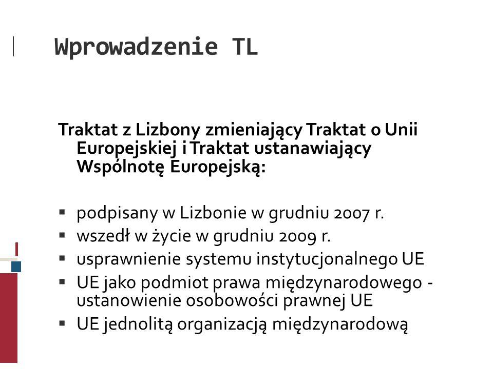 Wprowadzenie TL Traktat z Lizbony zmieniający Traktat o Unii Europejskiej i Traktat ustanawiający Wspólnotę Europejską: