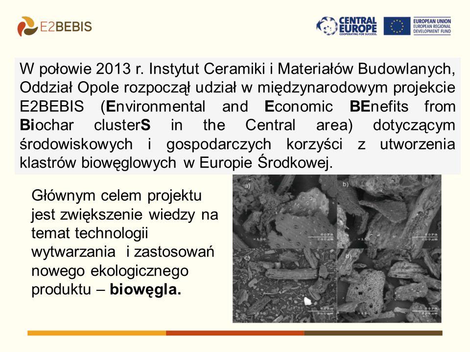 W połowie 2013 r. Instytut Ceramiki i Materiałów Budowlanych, Oddział Opole rozpoczął udział w międzynarodowym projekcie E2BEBIS (Environmental and Economic BEnefits from Biochar clusterS in the Central area) dotyczącym środowiskowych i gospodarczych korzyści z utworzenia klastrów biowęglowych w Europie Środkowej.