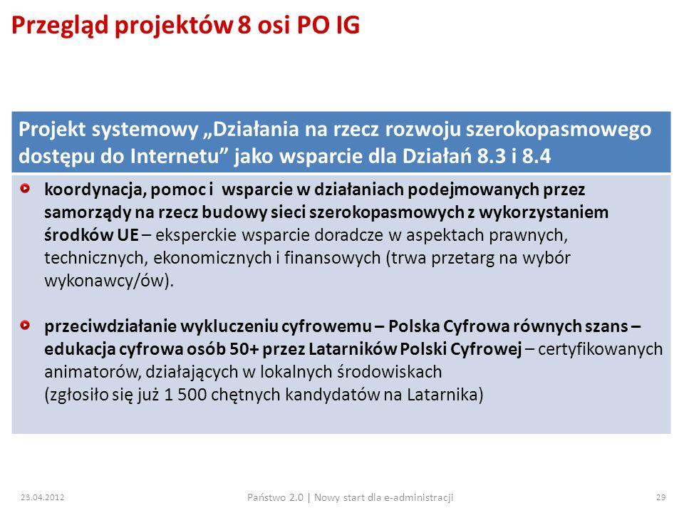 Przegląd projektów 8 osi PO IG