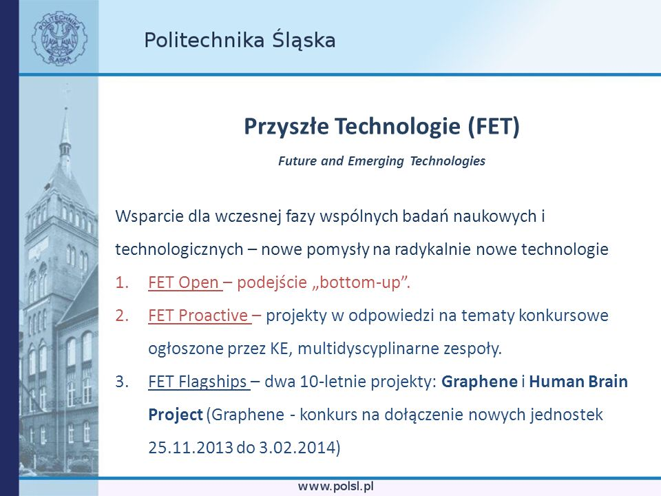Przyszłe Technologie (FET) Future and Emerging Technologies