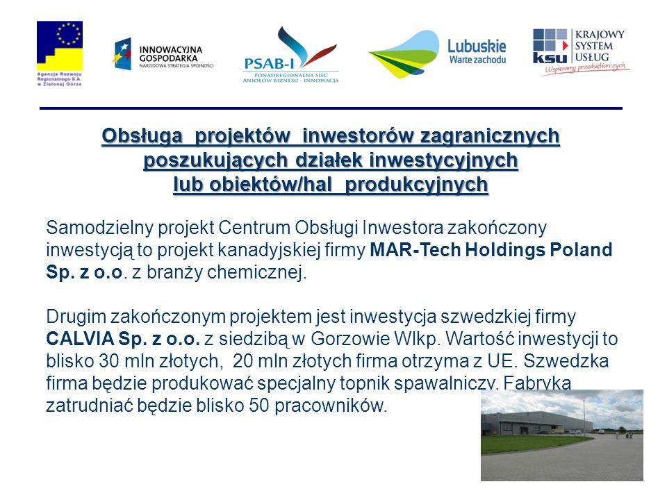 Obsługa projektów inwestorów zagranicznych poszukujących działek inwestycyjnych lub obiektów/hal produkcyjnych