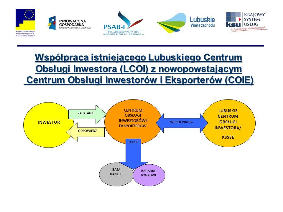 Współpraca istniejącego Lubuskiego Centrum Obsługi Inwestora (LCOI) z nowopowstającym Centrum Obsługi Inwestorów i Eksporterów (COIE)