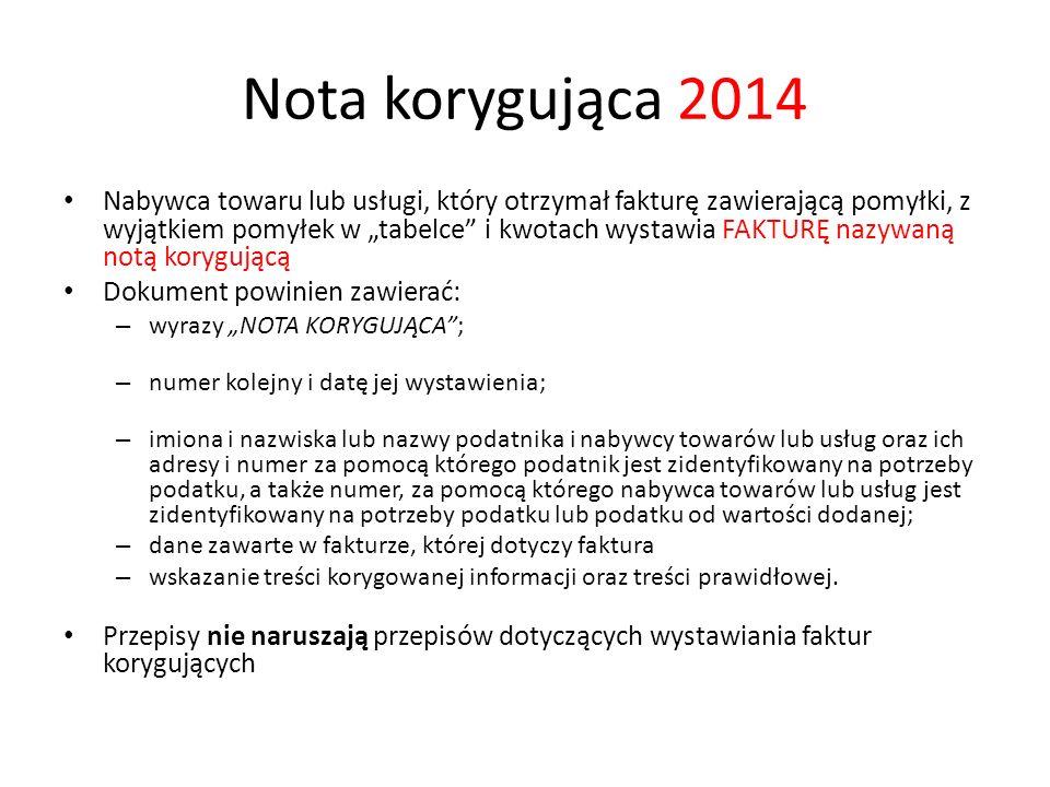 Nota korygująca 2014