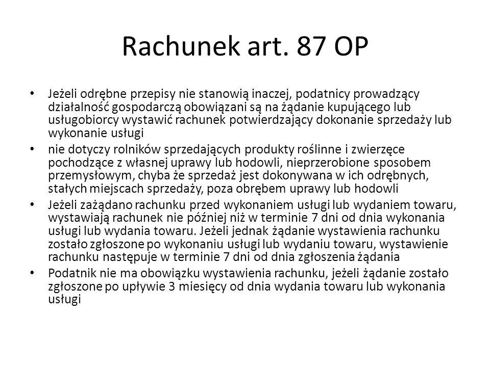 Rachunek art. 87 OP
