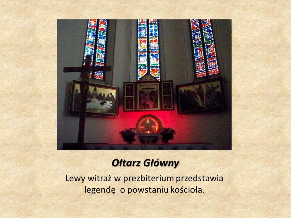 Lewy witraż w prezbiterium przedstawia legendę o powstaniu kościoła.