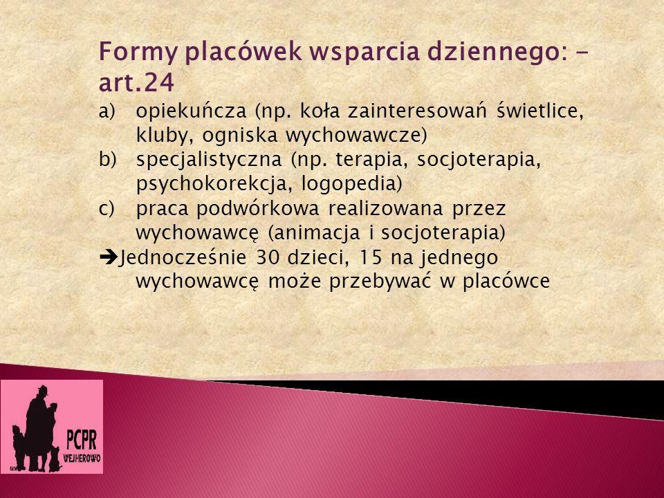 Formy placówek wsparcia dziennego: - art.24