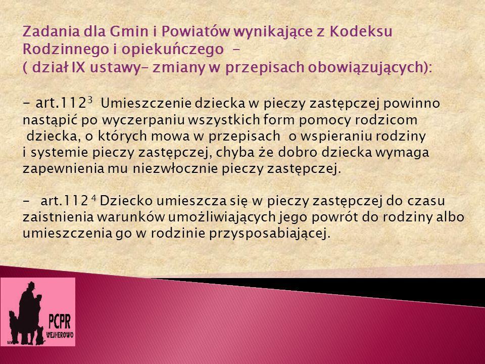 Zadania dla Gmin i Powiatów wynikające z Kodeksu
