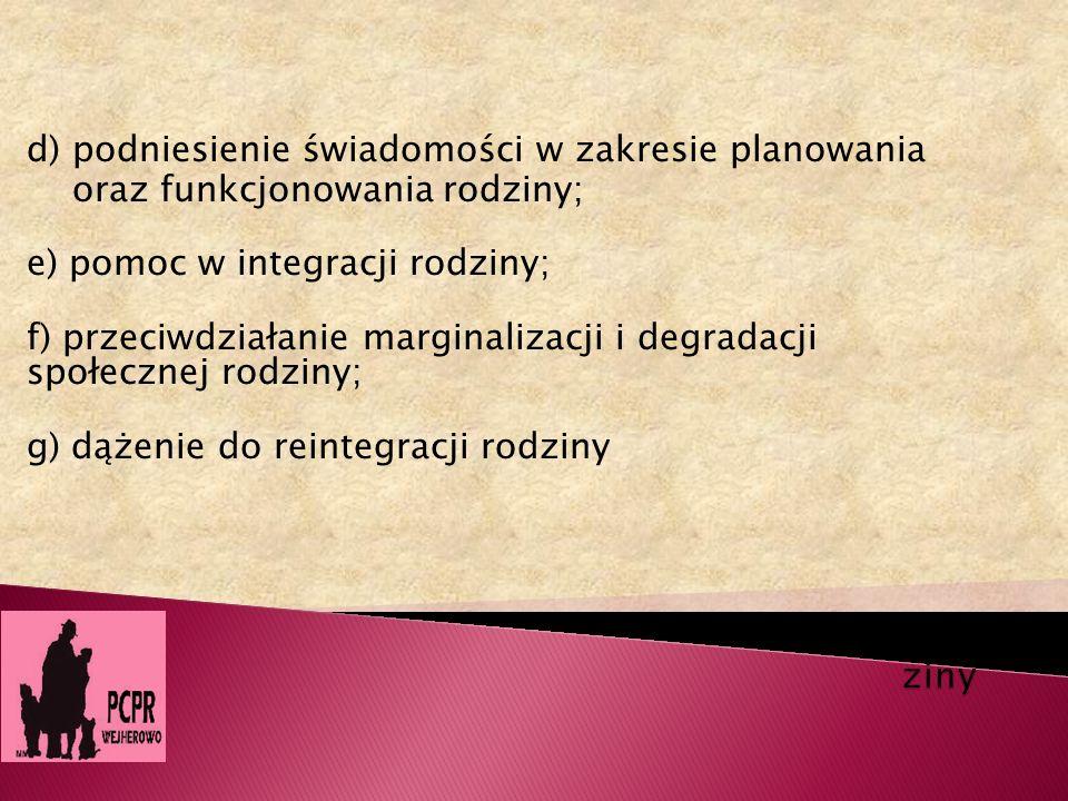 ziny d) podniesienie świadomości w zakresie planowania. oraz funkcjonowania rodziny; e) pomoc w integracji rodziny;