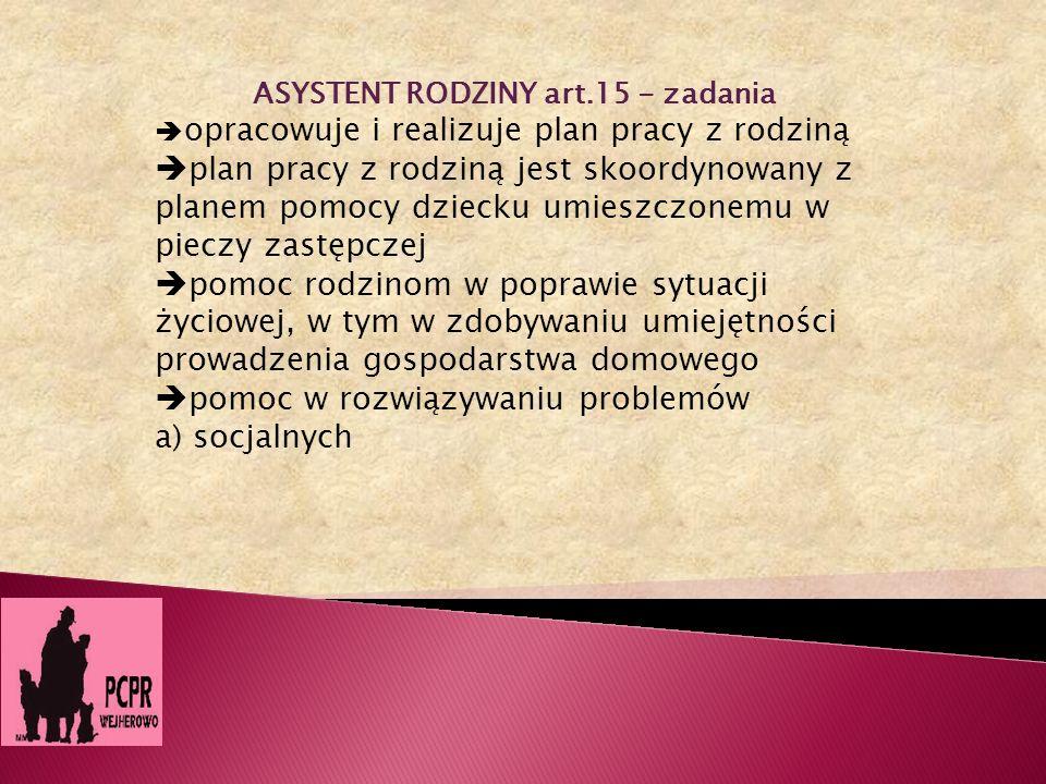 ASYSTENT RODZINY art.15 - zadania