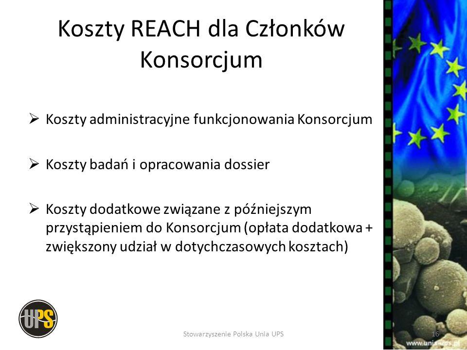 Koszty REACH dla Członków Konsorcjum
