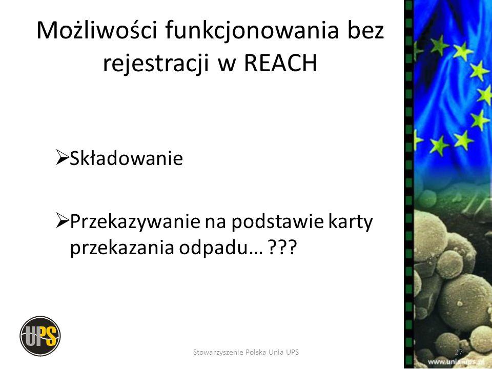 Możliwości funkcjonowania bez rejestracji w REACH