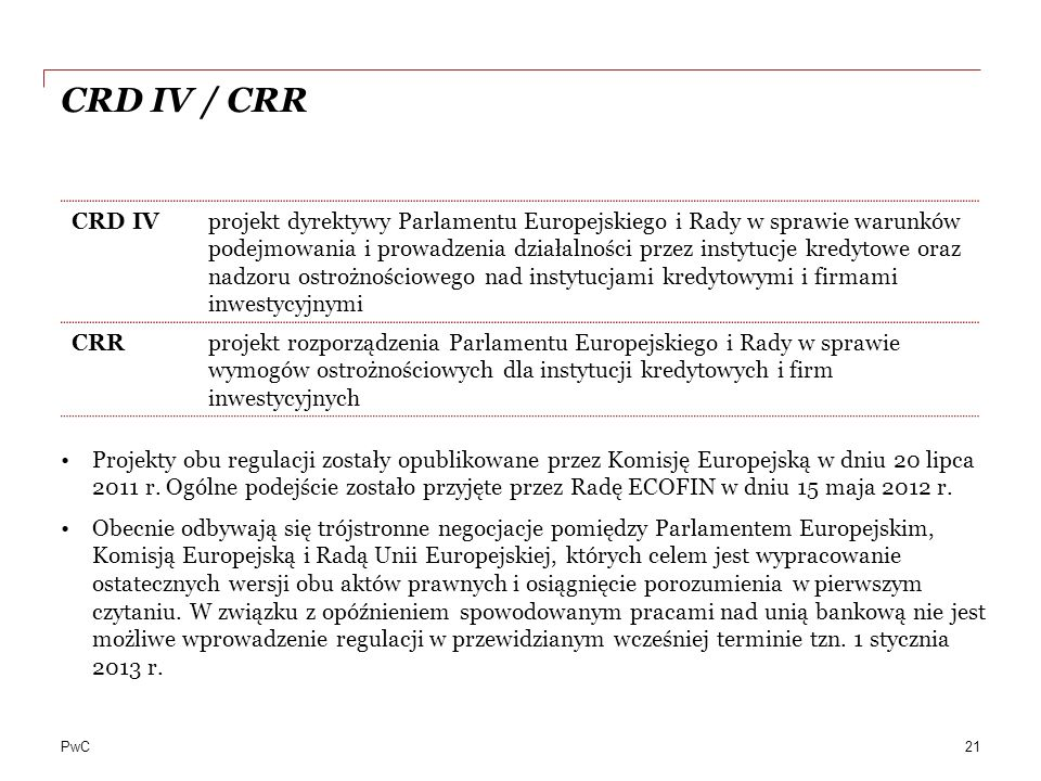 CRD IV / CRR CRD IV.